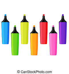 Set of Realistic Colorful Isolated Markers. Line of School...