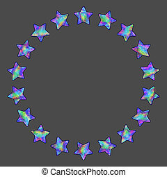 Abstract Round Frame of Stars with Realistic Holographic...