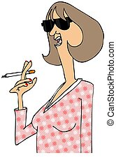 Woman talking while holding a cigarette - Illustration of a...