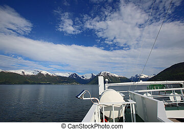 Ferry over fjord in Norway