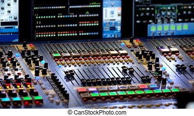 Panel of professional video equipment with a lot of buttons...