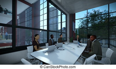 Business team meeting in conference room, timelapse sunset, dolly shot, 3d