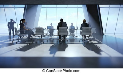 Business team in conference room, rear view timelapse sunset