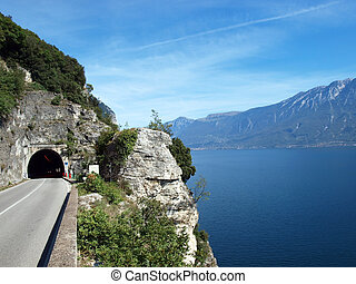 Mountain road around the Garda lake in the north part of...
