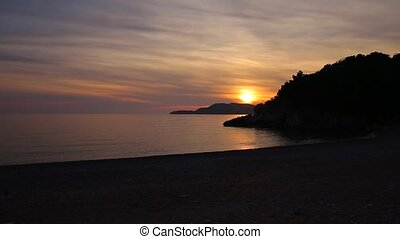 Sunset over the sea. Sunset over the Adriatic Sea. Sun to...