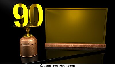 Rendering 3D Wooden trophy with number 90 in gold and golden...