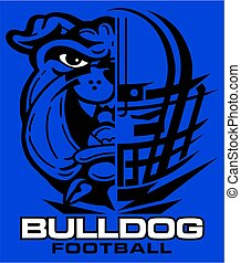 bulldog football team design with mascot and facemask for...