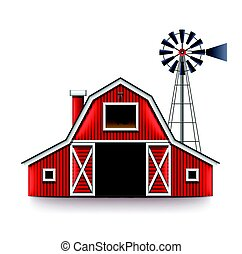 Traditional american red farm house isolated vector -...