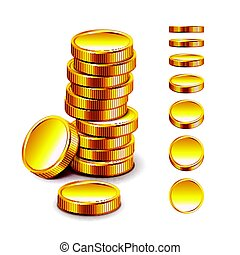 Golden coin isolated on white vector - Golden coin isolated...