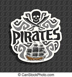 Vector logo for Pirate theme: black skull and crossed...