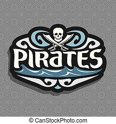 Vector logo for Pirate theme: gray skull and crossed swords...