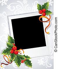 Christmas photo frame - Vector illustration - Christmas...
