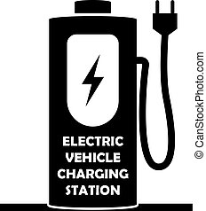 Vector icon for electric vehicle charging station. Electric...
