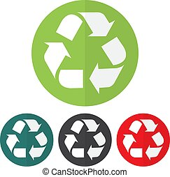 Set of recycle icon on a colorful circles. Vector...