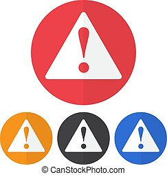 Set of danger sign icon on a colorful circles. Vector illustration