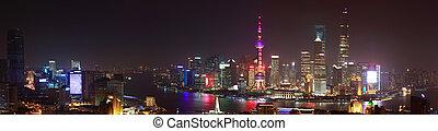 Aerial photography at Shanghai bund Skyline of panorama night scene