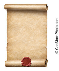 old scroll with red wax seal 3d illustration - old scroll...