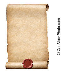 parhment scroll with red wax royal seal 3d illustration -...