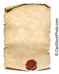 parchment with red wax seal 3d illustration - parchment with...