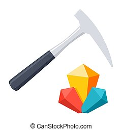 Geology Vector Icon - Geology concept with hammer and...