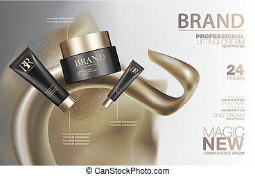 Cosmetic creme package set. Black containers with golden caps and glitter. Makeup box ads 3d illustration design.