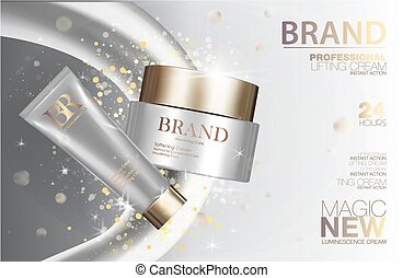 Medical cosmetic cream package set. White containers with golden caps and glitter. Makeup box ads 3d illustration design