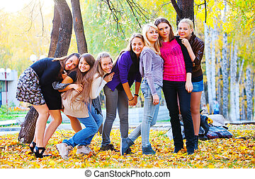 many young girls in the park