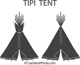 Monochrome tourist Indian or tipi tents for outdoor...
