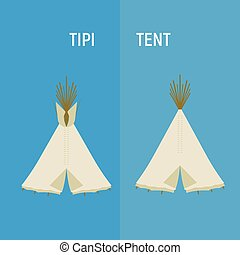 Tourist Indian or tipi tents for outdoor recreation. Vector...