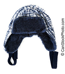 Baby warm hat on insulated on white background
