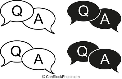 Set of 4 isolated black and white bubbles with question and answer icon