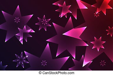 Dark background with glowing shiny seven pointed stars