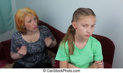 Conflict in the family between mother and daughter - Upset...