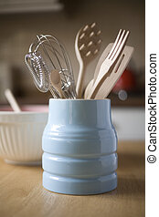 Kitchen Utensils in a retro crockery jar