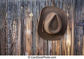 felt cowboy hat hanging on barn wall