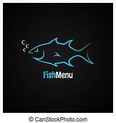 logotipo, peixe, vetorial, desenho, fundo
