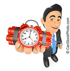 3D Businessman holding a time bomb