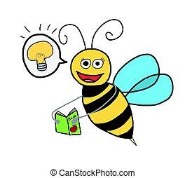 Bee seek knowledge - happy bee reading book , self esteem...