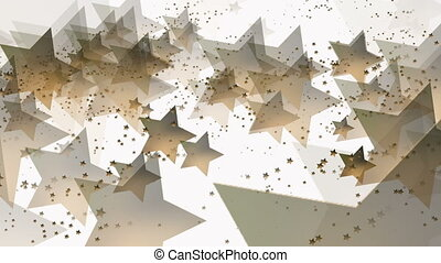 Flying stars in golden color on white