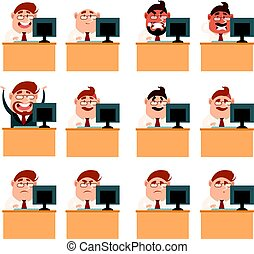 Set of business men at work icons