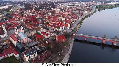 aerial view of old town at evening