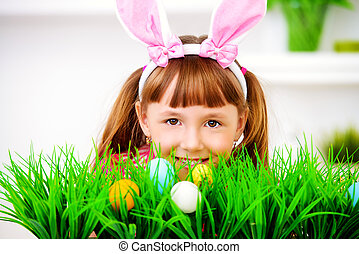 spring Easter holiday - Easter holidays. Funny happy girl...