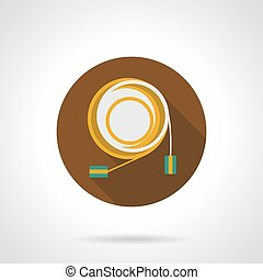 Audio cable flat round vector icon