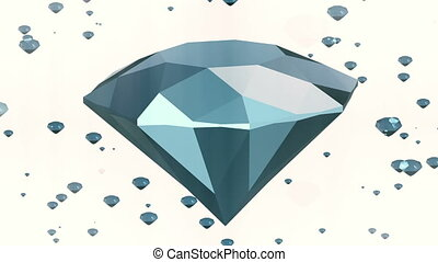 Rotating gems in blue on white color