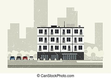 Condominium building with grunge texture. Vector banner of...