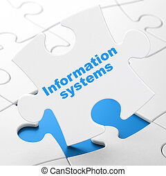 Data concept: Information Systems on puzzle background -...