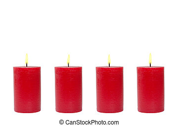 Four red candles, white background
