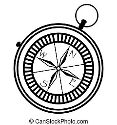 Simple nautical compass  showing directions: west, east, south, north in black and white in geometric monochrome star style pointers