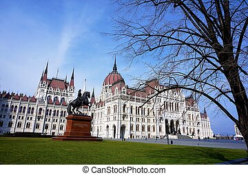 Side view on the parliament building in Budapest