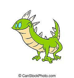 Cartoon green lizard - Colorful vector illustration of a...